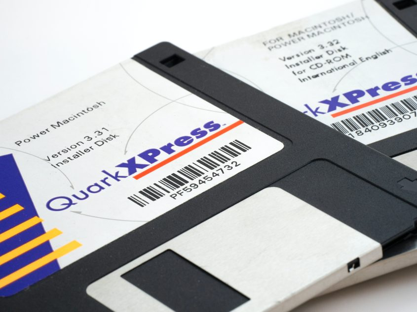 "A photo of two 3.5"" floppy disks."